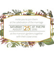 polygonal gold frame with flowers leaves a vector image vector image