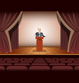 public speaker standing and speaking to vector image
