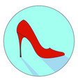 red woman shoe on white background vector image