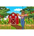 Scarecrow in the farmyard vector image vector image