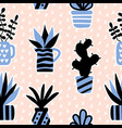 seamless pattern with black succulents vector image vector image