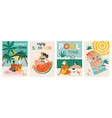 set a summer background summer swimming vector image