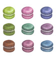 Set of watercolor colorful macarons