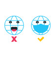 social distancing emoji earth with mask wear vector image vector image