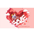 valentines day card with couple in love heart vector image vector image