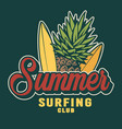 vintage summer surfing colorful label vector image vector image