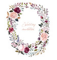 watercolor floral wreath with roses vector image