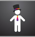 white figure with a top hat and colorful tie vector image