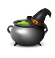 witch hat pot boiling potion on white vector image