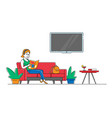 young female character sitting on couch reading vector image vector image