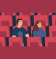 young spectator couple friends watch film vector image vector image