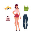 young woman girl and her summer tourist outfit vector image vector image