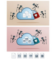 cloud storage attacked by computer virus vector image