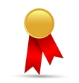 Golden quality label with red ribbon isolated on vector image