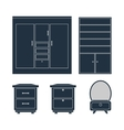 Home furniture Wardrobe bedside tables and mirror vector image