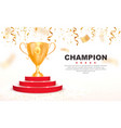3d golden trophy cup on red podium vector image vector image