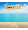 beautiful sea view and wood planks floor vector image vector image