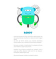 big robot on wheel with antennas promo banner vector image vector image