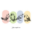 birds set hand drawn funny birds in a row vector image