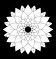 black and white round floral natural mandala vector image vector image