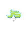 blue green alphabet letter js j s logo icon design vector image vector image