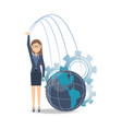 business woman taking risk cartoon vector image