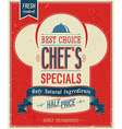 chefs special color vector image vector image