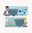 couple with desktop social media icons vector image vector image