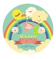 Cute babies with rainbowsun and clouds vector image