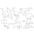 dinosaur silhouettes set coloring dino monsters vector image vector image