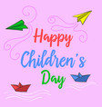 doodle childrens day colorful style vector image vector image