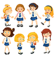 Eight schoolgirls in their uniforms vector image