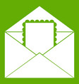 envelope with card icon green vector image
