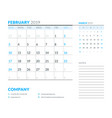 february 2019 week starts on sunday calendar vector image vector image