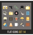 Flat icons set 14 vector image