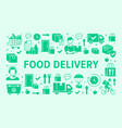 food delivery horizontal poster with silhouette vector image vector image