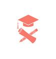 Graduate education logo graduation symbols diploma vector image