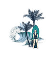 hand drawn background with girl surfer on the vector image