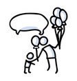 hand drawn stick figure giving balloon to child vector image vector image