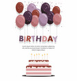 happy birthday card with cake and balloons vector image vector image