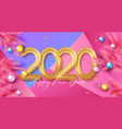 happy new year background with gold 2020 numbers vector image