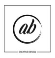 initial letter ab logo template design vector image