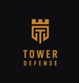 initial letter t tower kingdom logo design with vector image vector image