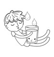 little boy with water glass kawaii character vector image vector image