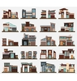 Modern houses or buildings with garage and bushes vector image vector image