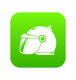 motorcycle helmet scooter icon green vector image vector image