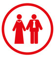 newlyweds rounded icon vector image