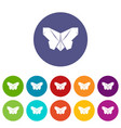 origami butterfly icons set color vector image vector image