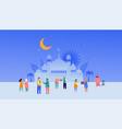 ramadan kareem eid mubarak greeting card vector image vector image