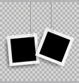 retro realistic photo frame with paper clip vector image